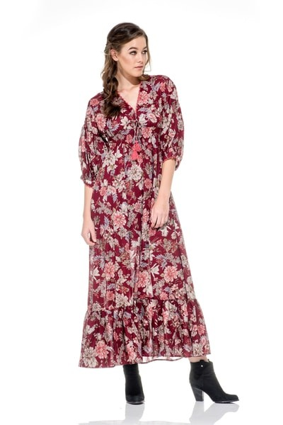 Naudic Valencia Maxi Dress in Maroon