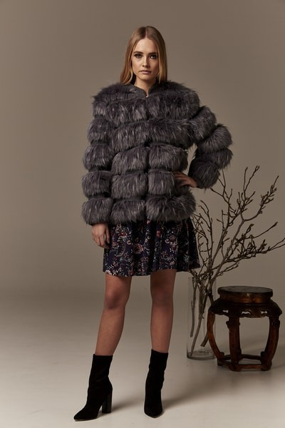Gysette Mhaya Flux Fur Jacket Graphite