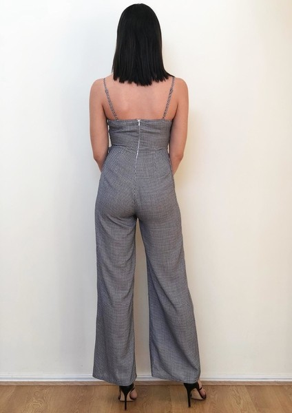 Spicy Sugar Square Neck Check Jumpsuit|Buy Online