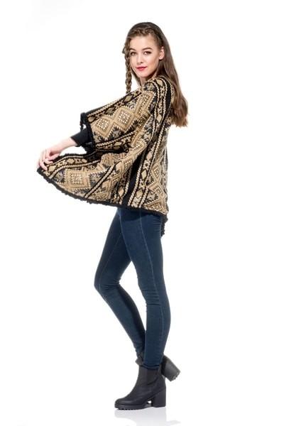 Naudic Kimono Jacket Wool Jacquard