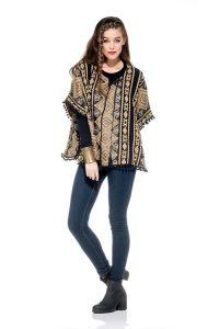 Naudic Romford Kaftan Wool Jacquard in Natural and Black