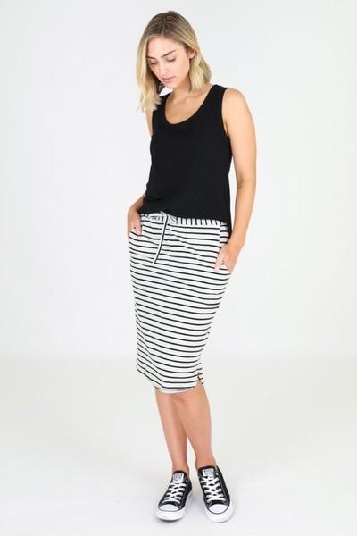 Buy 3rd Story Olivia Skirt Grey Stripe Onlinbe