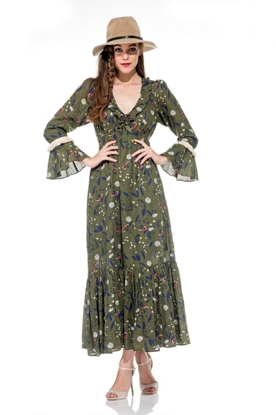Naudic Geneva Maxi Dress in Khaki and Navy