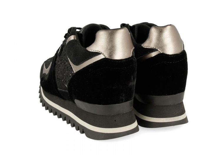 Gioseppo BLACK SNEAKERS WITH INTERNAL WEDGE, DETAILED WITH DIFFERENT TEXTURES FOR WOMAN 41066