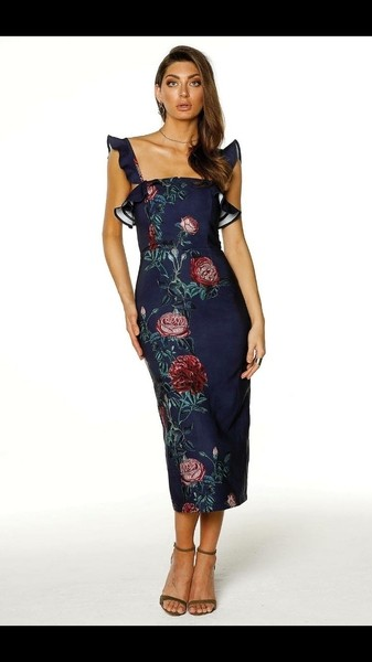 Pasduchas Ramone Strap Midi Dress in Navy Buy Online