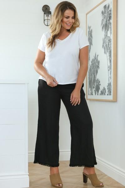Adrift Camille Black Linen Pant