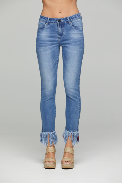 New London Crop Fringe Denim Jeans