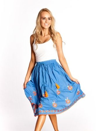 Naudic Cornflower Athena Embroidery Biba Skirt