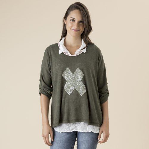 Threadz 2-In-1 Sequin Cross Knit